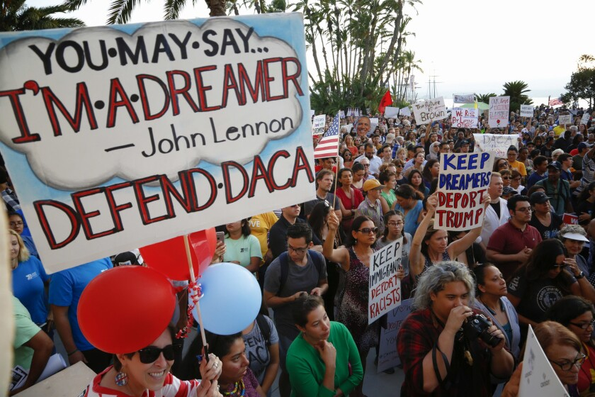 DACA supporters listened to various speakers during a 2017 rally at the San Diego County Administration Building.