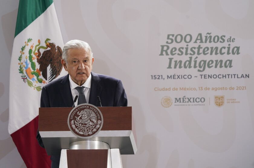 Andrés Manuel López Obrador speaks at a lectern