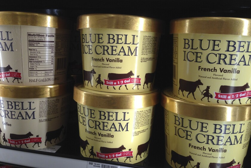 Blue Bell is recalling all its products. Above, Blue Bell ice cream at a grocery store in Lawrence, Kan., on April 10.