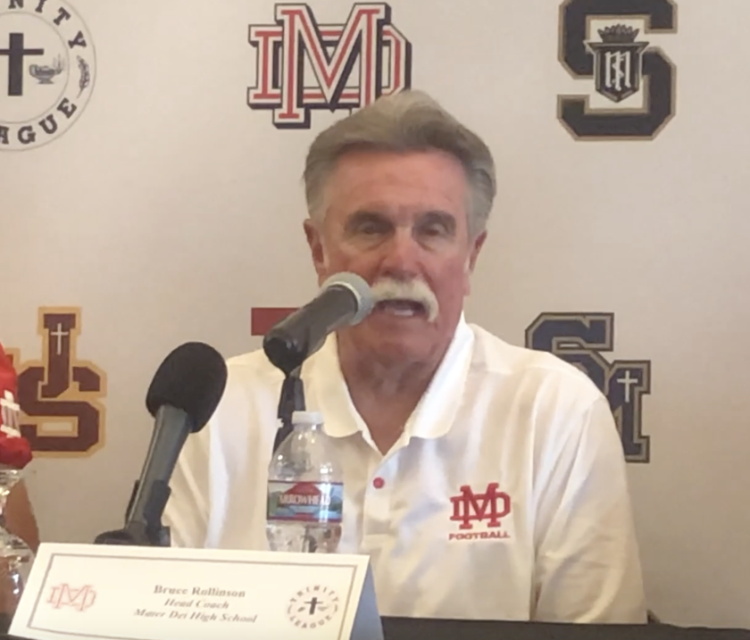 Mater Dei coach Bruce Rollinson talks about watching former players in college football.
