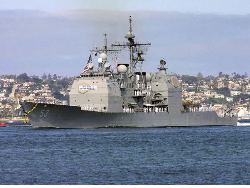 The Mobile Bay is a 567-foot Ticonderoga-class cruiser that was commissioned in February 1987.