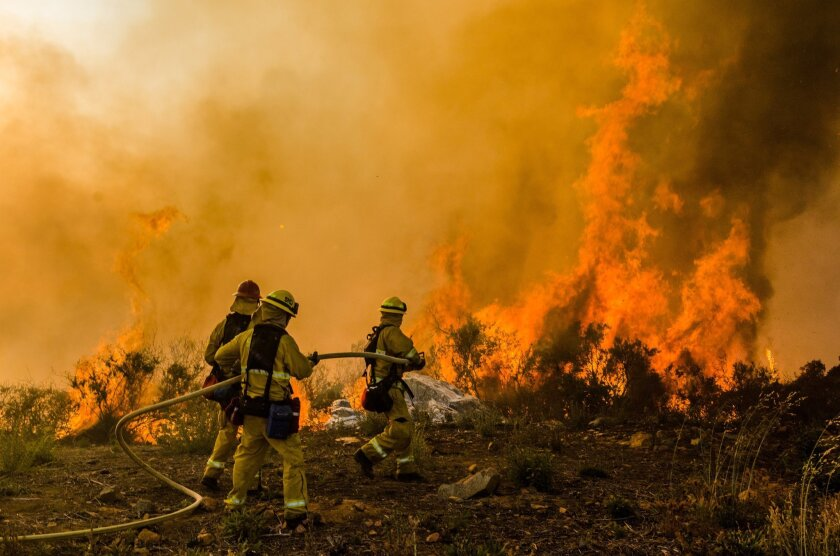 San Diego firefighters battle the Cocos fire in San Marcos in May, 2014. Photo Anthony Carrasco