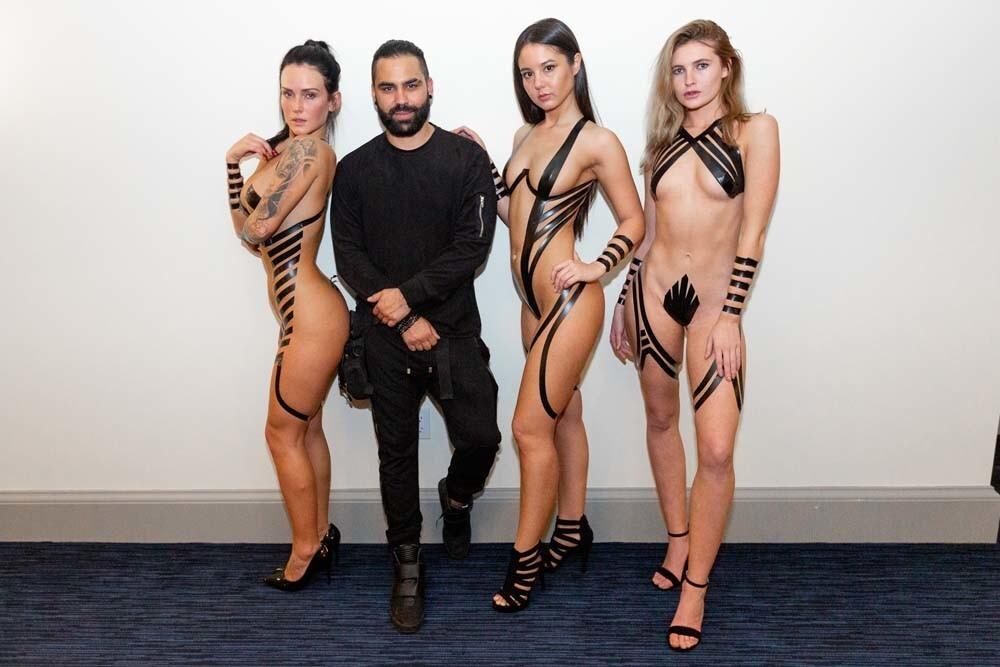 Models became literal works of art thanks to artist Joel Alvarez's Black Tape Project at Oxford Social Club on Friday, Jan. 25, 2019.