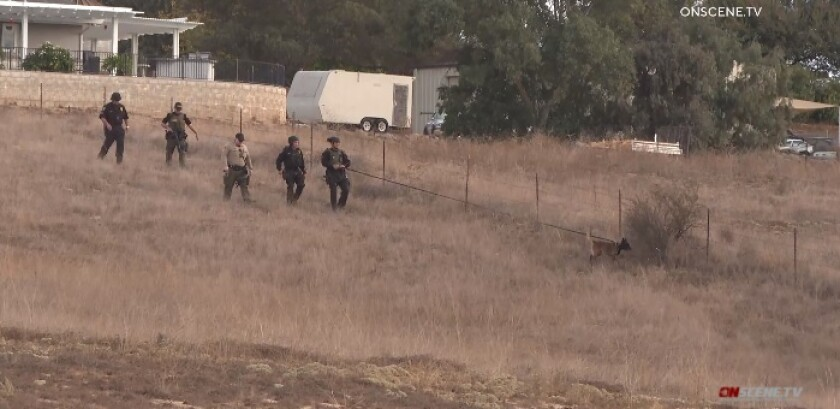 Sheriff's deputies use a dog to help search the area near where a 46-year-old man fatally shot Thursday in Ramona.