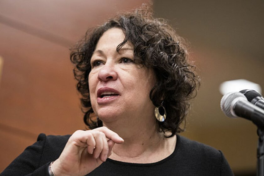 """Justice Sonia Sotomayor, pictured in January, dissented in Monday's ruling. She said the decision """"undermines the legality of thousands of miles of former rights of way that the public now enjoys as means of transportation and recreation."""""""