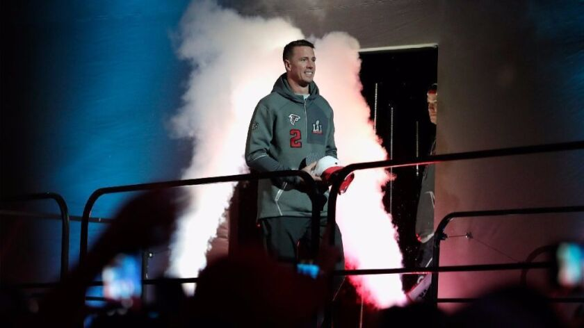 Falcons quarterback Matt Ryan is introduce at Super Bowl LI Opening Night in Houston on Jan. 31