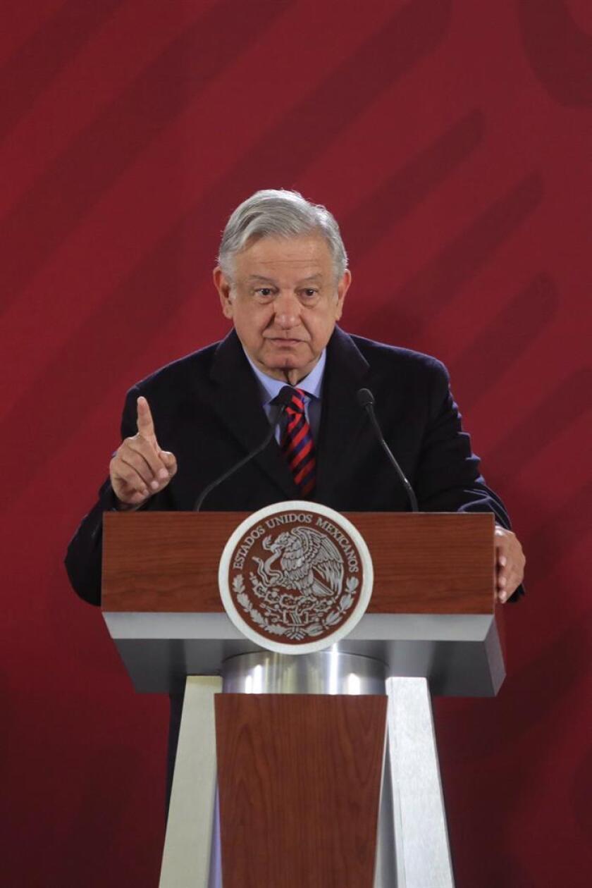 Mexican President Andres Manuel Lopez Obrador speaks at his regular morning press conference in Mexico City on Jan. 16, 2019. EFE-EPA/Sashenka Gutierrez