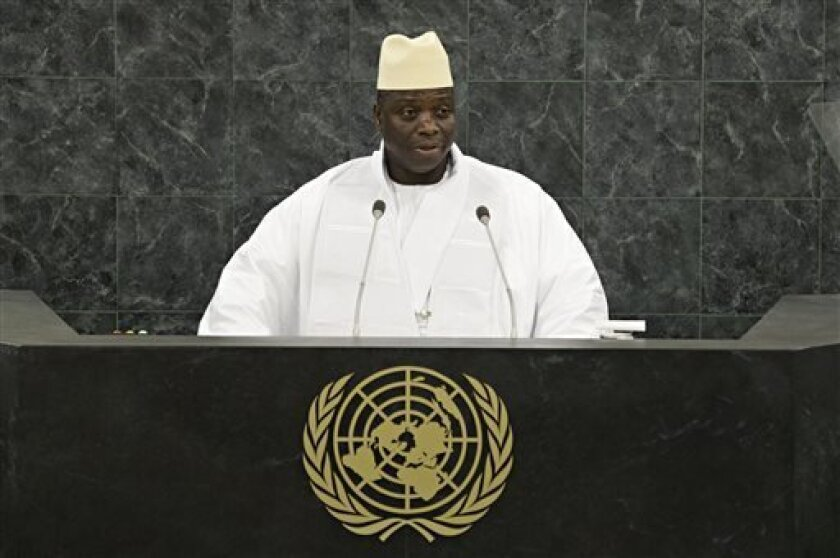 Gambian President Yahya Jammeh addresses the 68th United Nations General Assembly on Friday Sept. 27, 2013 at U.N. headquarters.  (AP Photo/Andrew Burton,Pool)