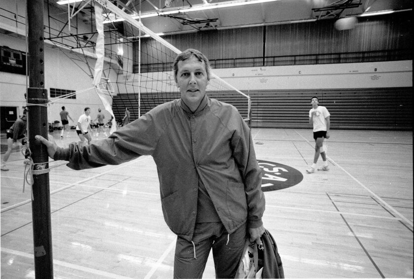 Former SDSU volleyball coach Jack Henn, in a 1987 photo at Peterson Gym.