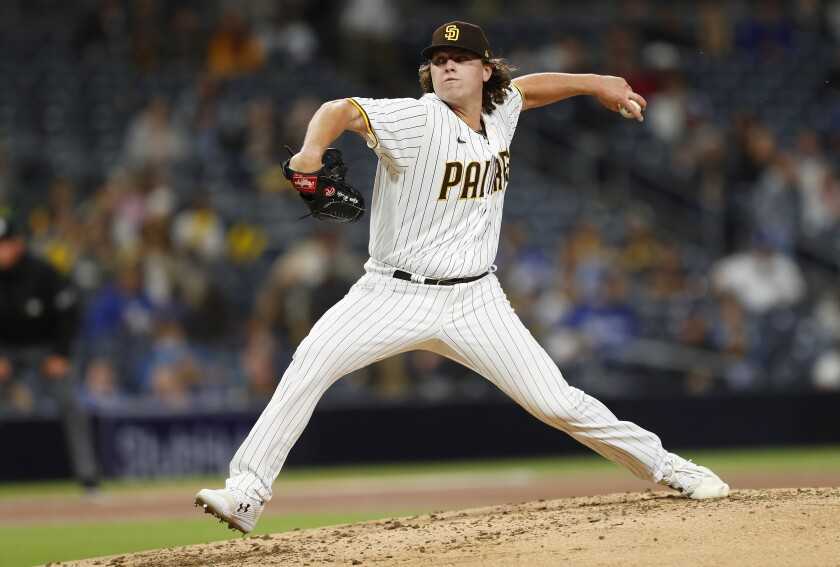 Ryan Weathers pitches against the Los Angeles Dodgers on Friday at Petco Park.