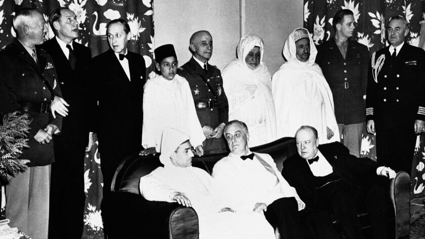The Sultan of Morocco, Mohammed V, seated, left, with President Franklin D. Roosevelt and Prime Minister Winston Churchill, at the Casablanca Conferences on Jan. 31, 1943.