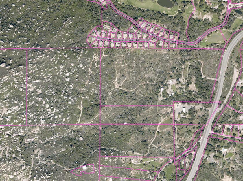This aerial map shows the Mt. Woodson site where four parking lots are planned to be installed by the end of 2021.