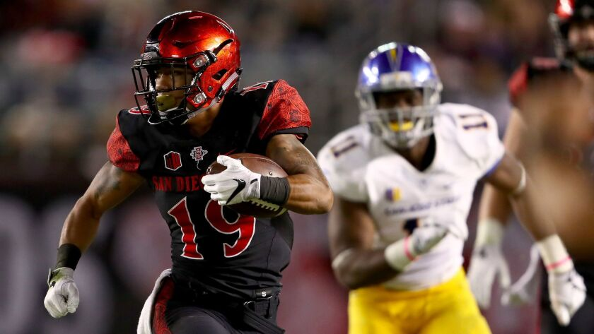 San Diego State running back D.J. Pumphrey had his sixth straight 100-yard rushing performance in the Aztecs' game against San Jose State at Qualcomm Stadium.