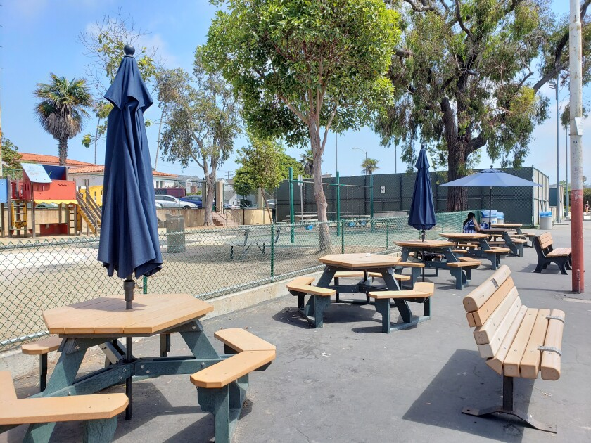 New tables are equipped with umbrellas on the La Jolla Recreation Center playground at 615 Prospect St.