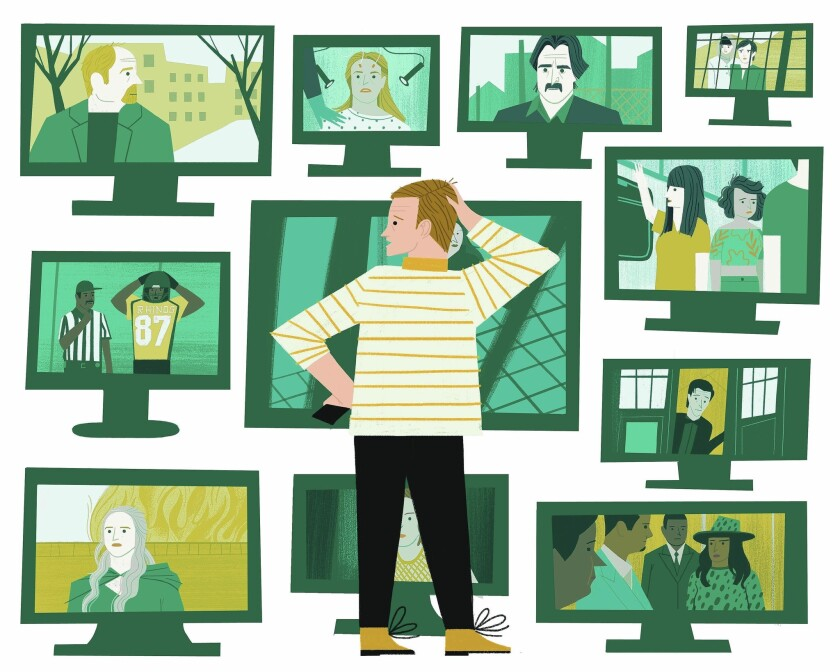 Illustration of a man trying to decide which of 11 television sets he should watch
