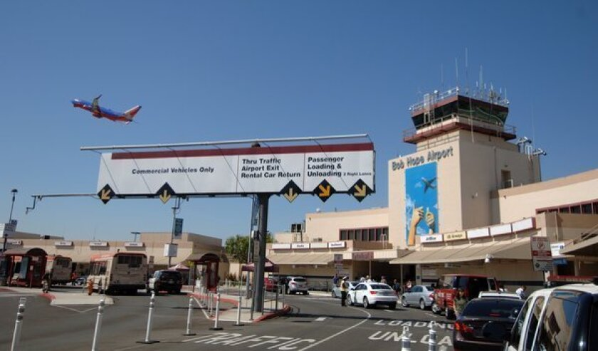 A Southwest flight is outward bound from Bob Hope Airport in Burbank.