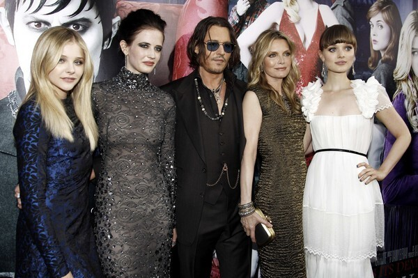 """""""Dark Shadows"""" stars Chloe Grace Moretz, left, Eva Green, Johnny Depp, Michelle Pfeiffer and Bella Heathcote gather at the premiere of the film based on the 1960s soap opera at Grauman's Chinese Theatre in Los Angeles. The Tim Burton-directed film opens in theaters Friday."""