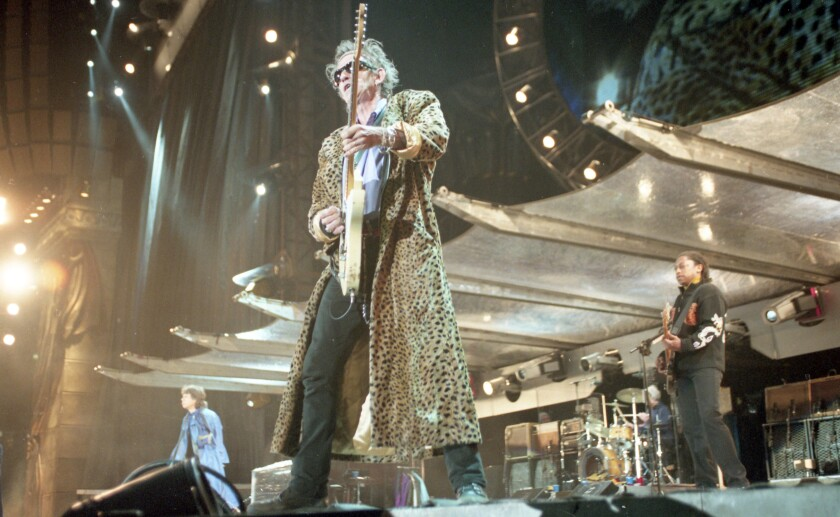 Keith Richards on stage with the Rolling Stones in 1998 at Qualcomm Stadium