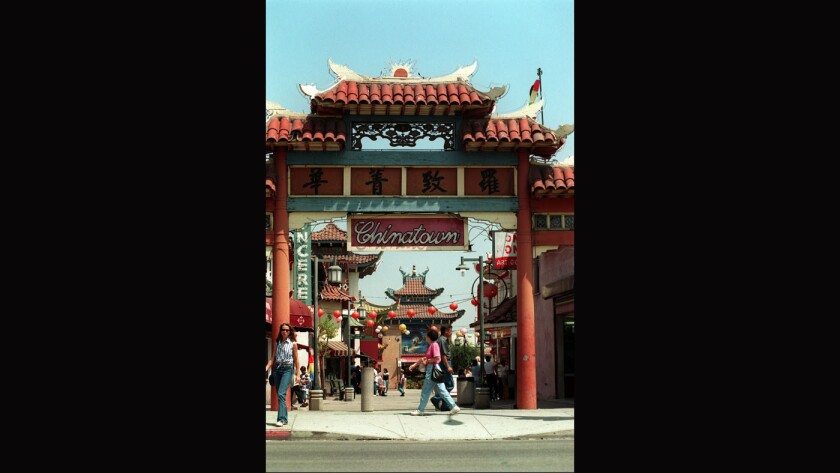 The Broadway entrance to Chinatown in Los Angeles