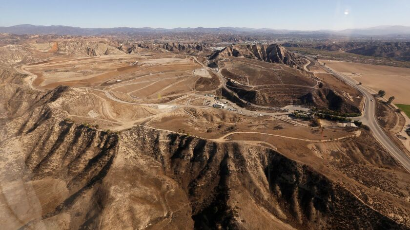 LOS ANGELES, CA - NOVEMBER 17, 2016 - Aerial view of the Chiquita Canyon Landfill in northern Los An