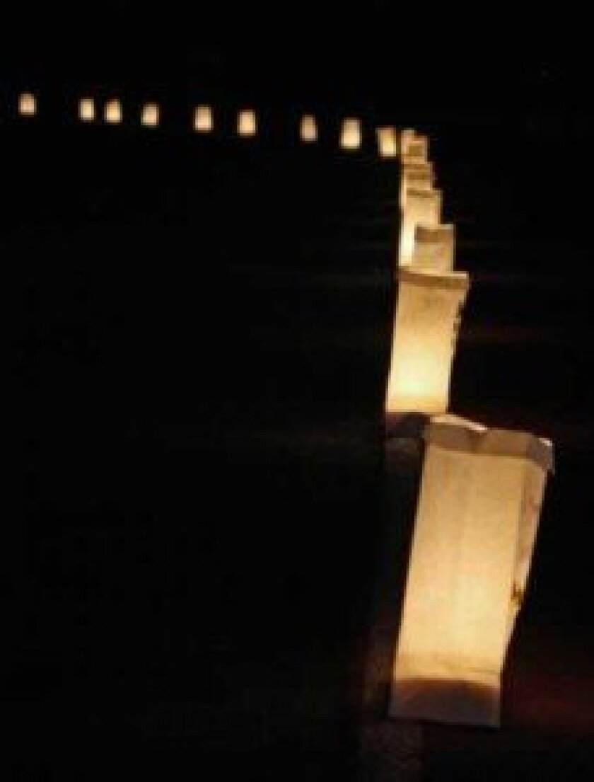 Luminaria bags light the way for night- walkers at the 2012 Relay.
