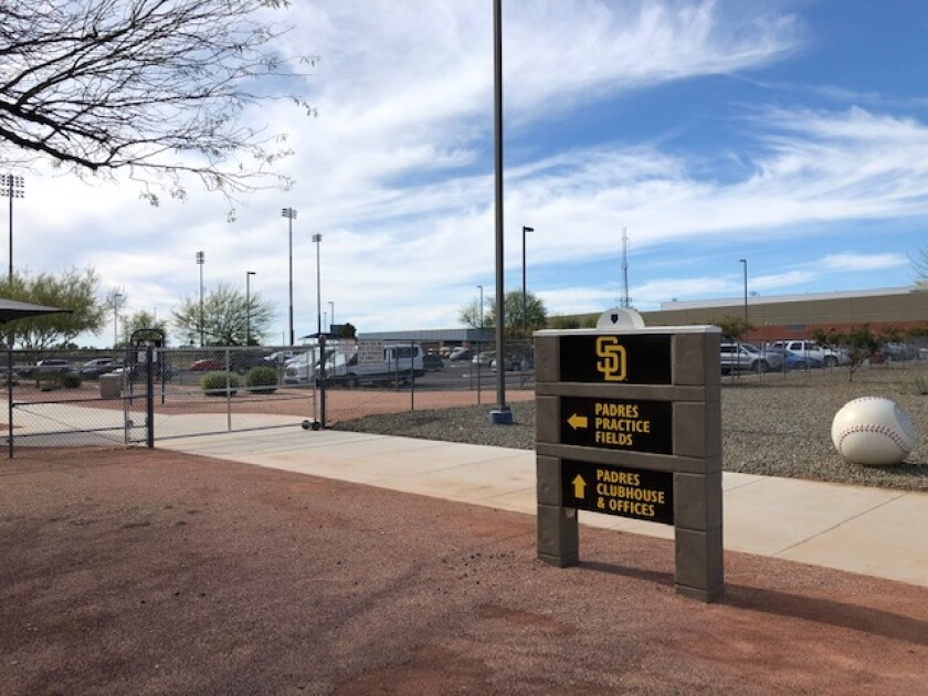 The closed Padres spring training complex in Peoria, Ariz.