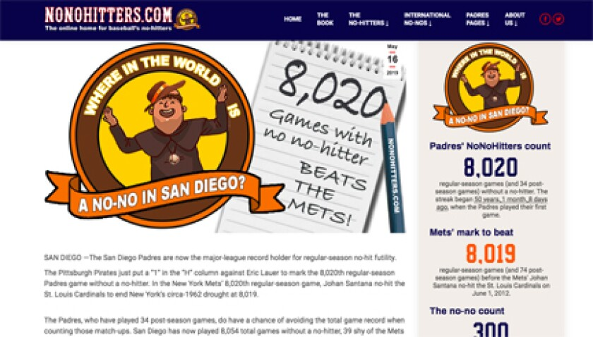 Updated screen at nonohitters.com after Padres set major league record Thursday.