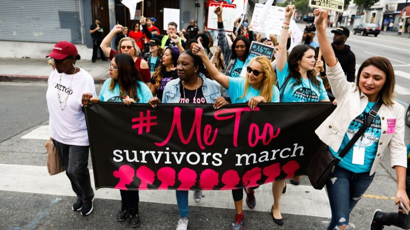 LOS ANGELES, CALIF. - - SUNDAY, NOVEMBER 12, 2017: Sexual assault survivors along with their support