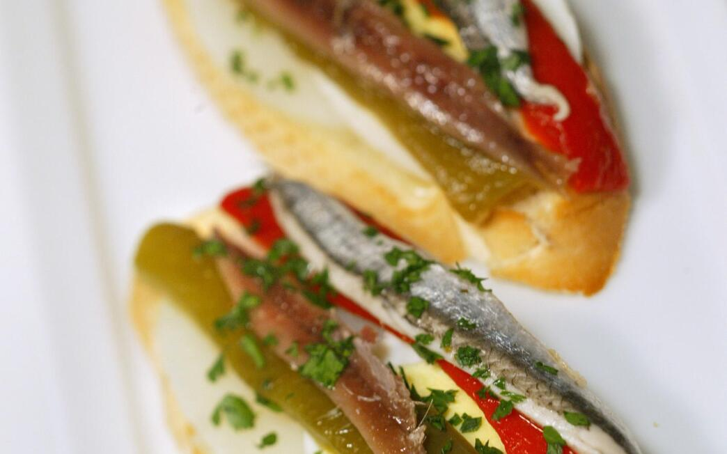 Anchovy, roasted red pepper, potato and egg pintxos