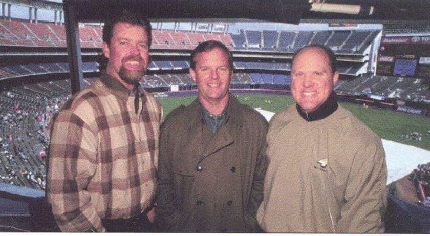 Mel Proctor, Rick Sutcliffe and Mark Grant doing Padres TV in 1998