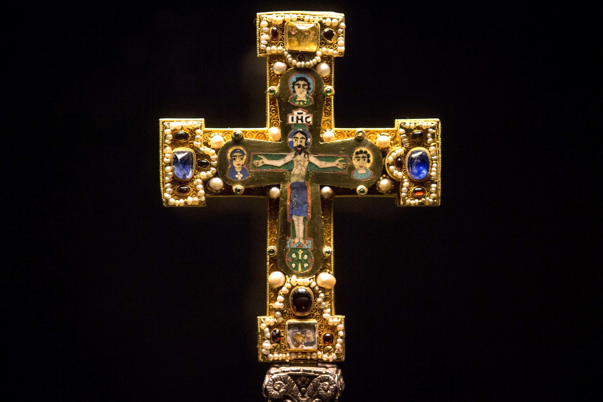 A medieval cross, part of  the Guelph Treasure collection, is displayed at the Bode Museum in Berlin