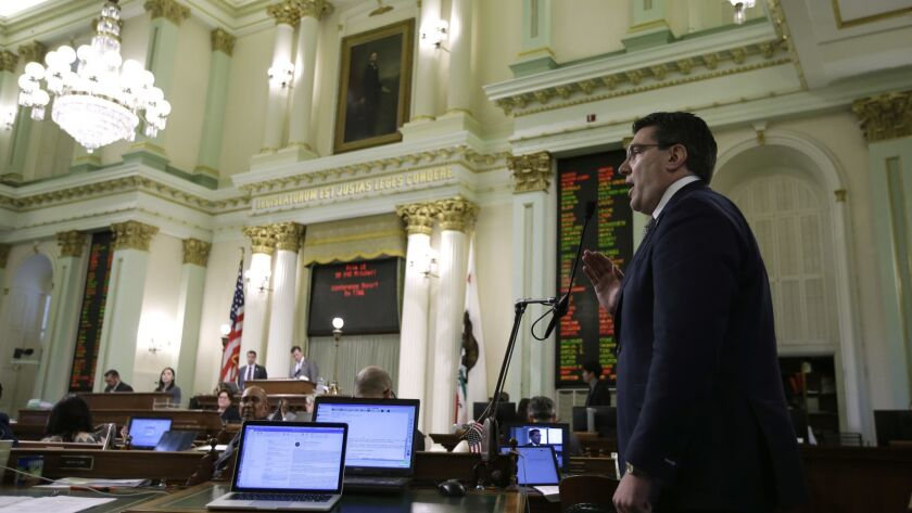Assemblyman Jay Obernolte (R-Big Bear Lake) speaks in opposition to the state budget plan up for a vote on Thursday. Obernolte and other Republicans questioned the need for a new deficit reserve fund, agreed to by Democrats and Gov. Jerry Brown.