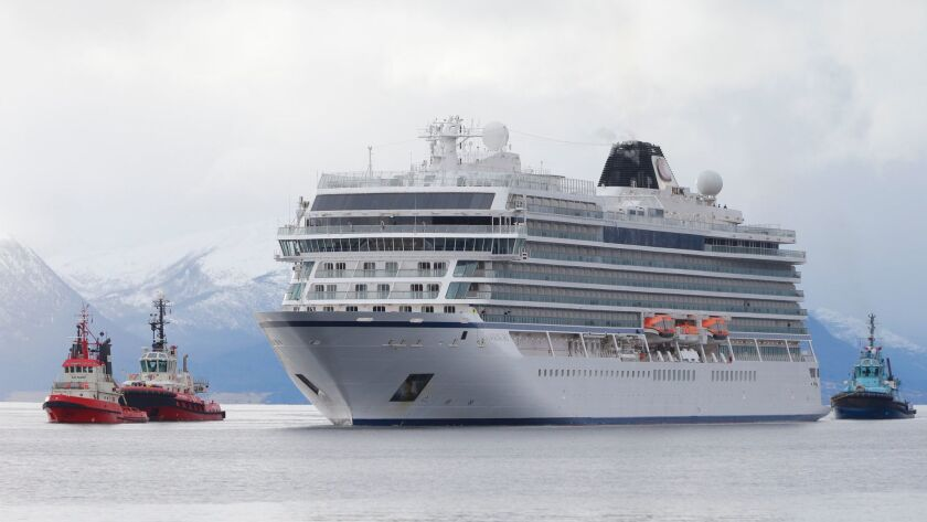 The cruise ship Viking Sky arrives at Molde, Norway, on March 24, 2019. Viking Sky reported engine failure on March 23 in windy conditions off the west coast of Norway in Hustadvika.