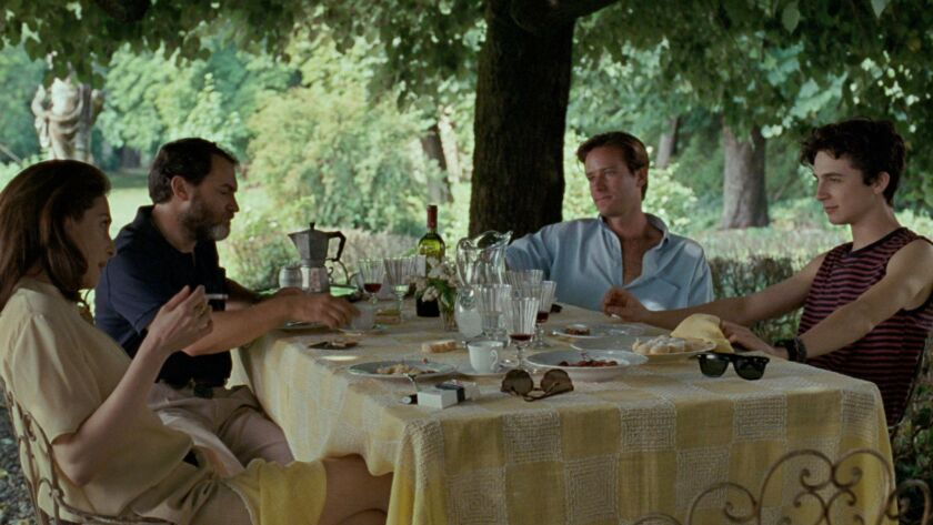 (L-R) - Amira Casar as Annella, Michael Stulhbarg as Mr. Perlman, Armie Hammer as Oliver and Timothe