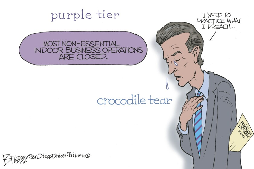 "In this Breen cartoon, a ""purple tier"" button is contrasted with an apologetic Newsom's ""crocodile tear"""