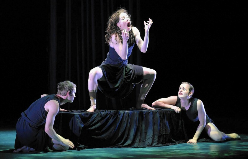 """Members of the Mark Morris Dance Group perform """"Dido and Aeneas,"""" a partial retelling of Virgil's epic poem """"Aeneid,"""" at the Irvine Barclay Theatre."""