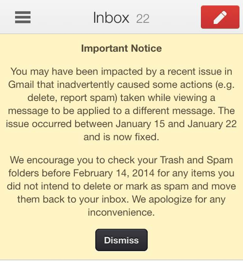 Google recently sent notices to numerous Gmail users, letting them know the service may have incorrectly categorized some of their messages.
