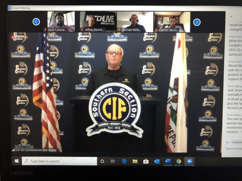 CIF Southern Section Commissioner Rob Wigod speaks during a Zoom news conference Monday.