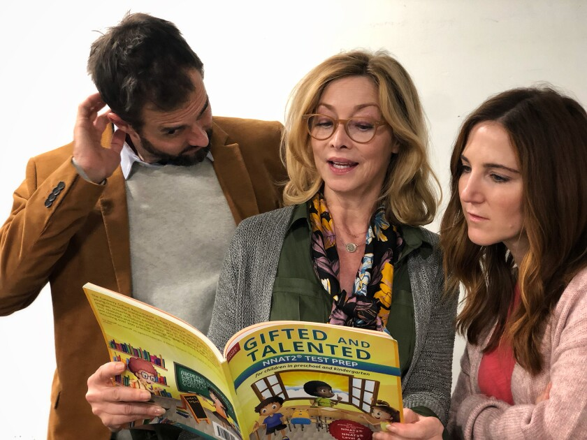 """Tim Peper, Sharon Lawrence, center, and Sarah Utterback in """"A Kid Like Jake"""" at the Pasadena Playhouse's Carrie Hamilton Theatre."""