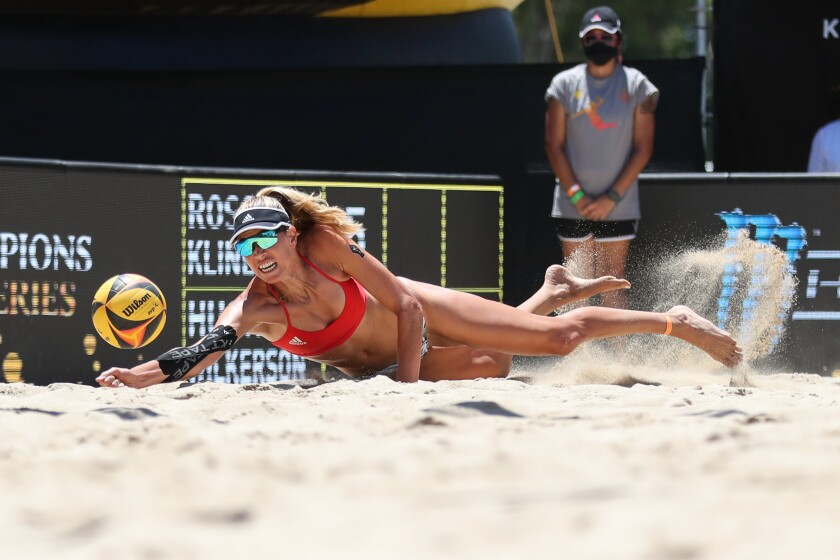 Alix Klineman dives to make a dig during Sunday's AVP tournament in Long Beach.