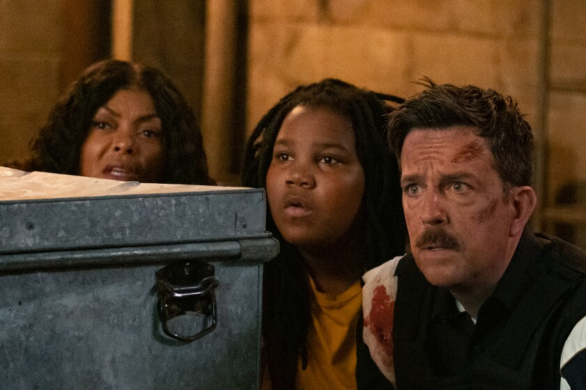"Taraji P. Henson, left, Terrence Little Gardenhigh and Ed Helms in the movie ""Coffee & Kareem."""