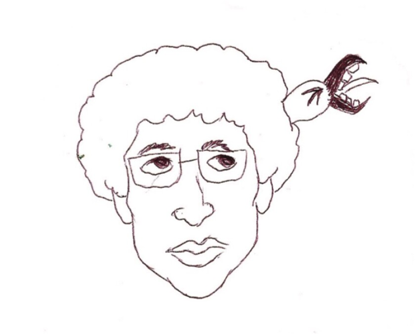 Black-and-white drawing of a man wearing glasses, with a claw coming out of his head