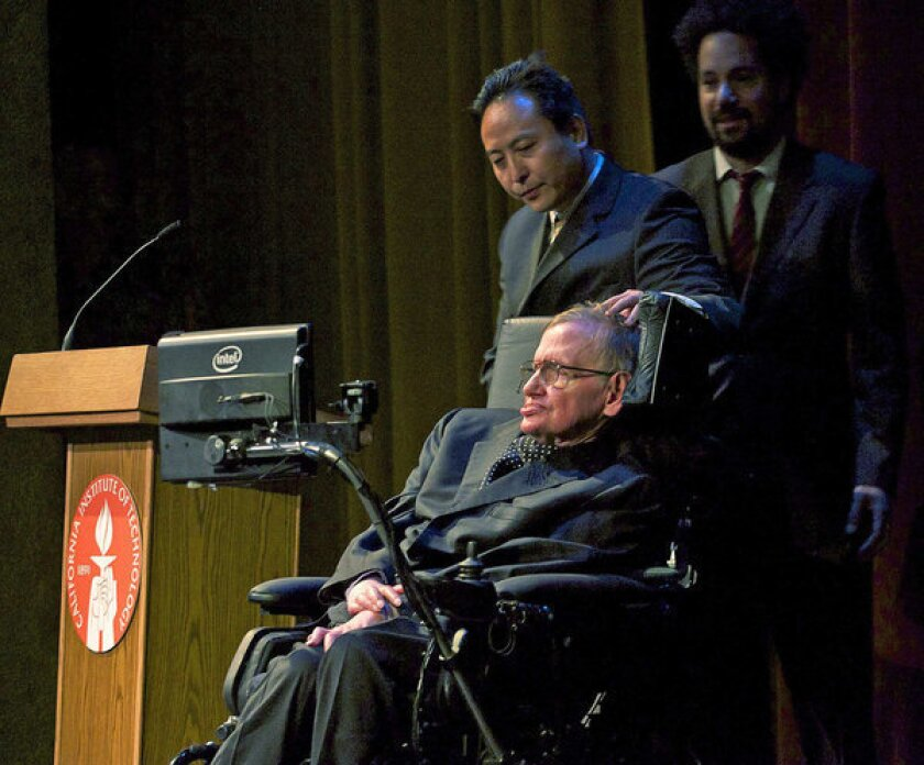 Physicist Stephen Hawking delivered a lecture on the origin of the universe Tuesday night at Caltech's Beckman Auditorium.