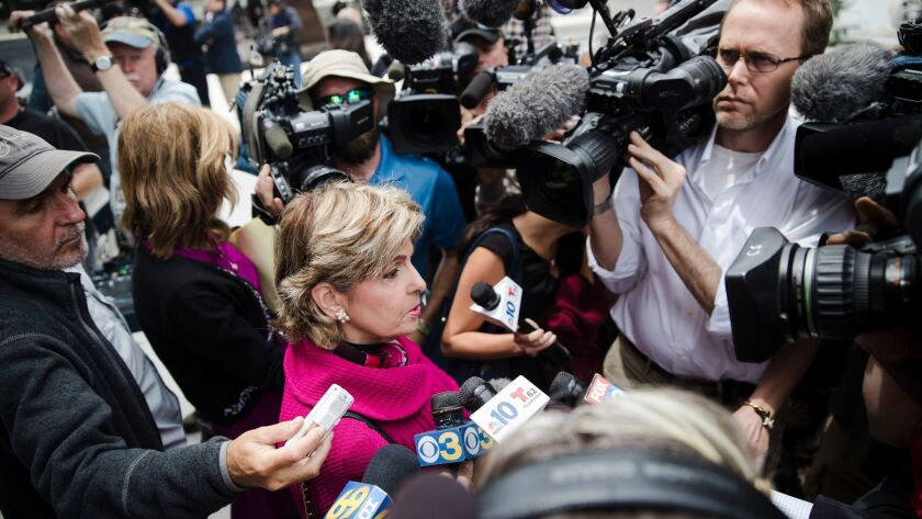 Attorney Gloria Allred speaks to members of the news media on the steps of the Montgomery County Courthouse during Bill Cosby's sexual assault trial in Norristown, Pa., on Thursday.