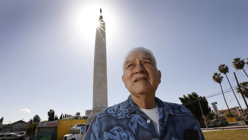 Eddie Morin, 75, at a veterans' memorial square in Boyle Heights. A Vietnam veteran, Morin is at odds with city officials and a group of veterans over the name of the memorial square.
