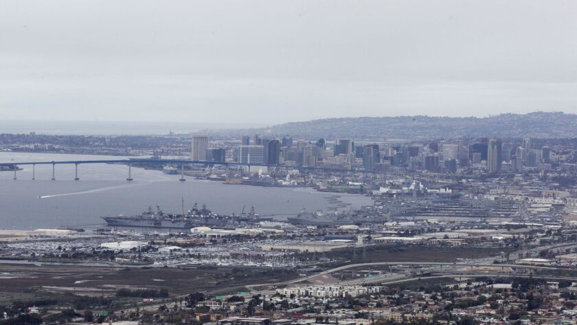 Clouds streamed back into San Diego on Thursday, making the city look much like it did on Wednesday (as shown here). On the left, you'll see the amphibious assault ships America (6) and Makin Island (8).