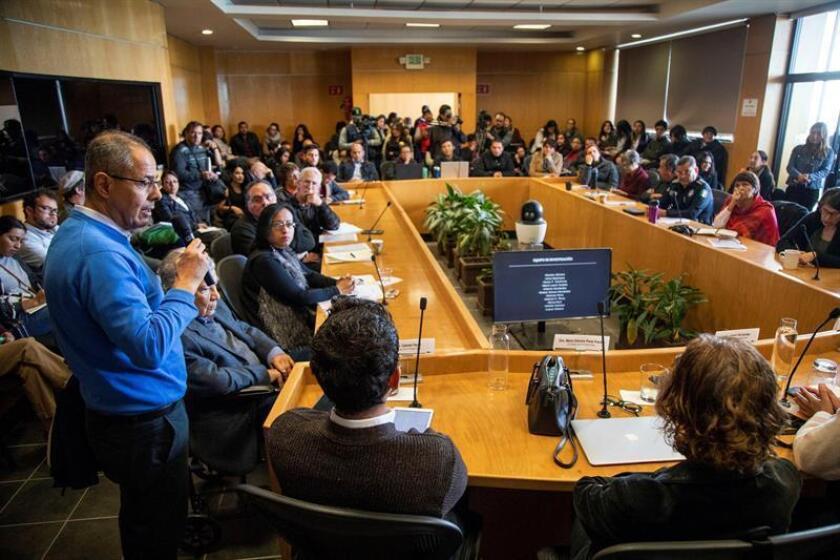 Vista general hoy, de una rueda de prensa en el Colegio de la Frontera Norte, en la ciudad de Tijuana en Baja California (México). EFE
