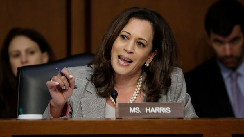 Sen. Kamala Harris questions Atty. Gen. Jeff Sessions during his testimony before the Senate Intelligence Committee on June 13.