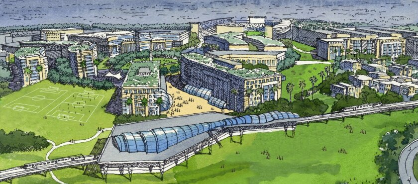 Rendering of proposed San Diego State University west campus. In foreground is reconfigured trolley station. In the background, right, is the Aztec stadium.