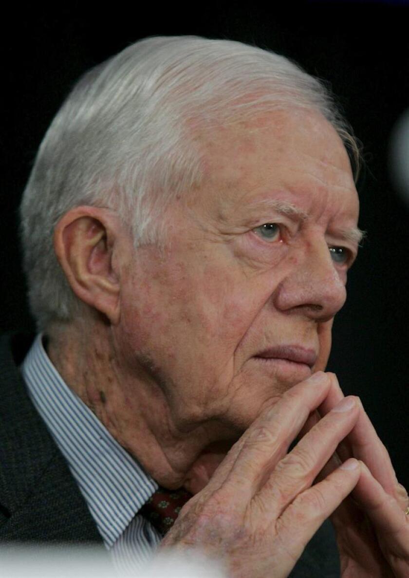 El expresidente Jimmy Carter bromeó durante una entrevista en televisión sobre el actual mandatario Donald Trump y aseguró que reza por él. EFE/ARCHIVO